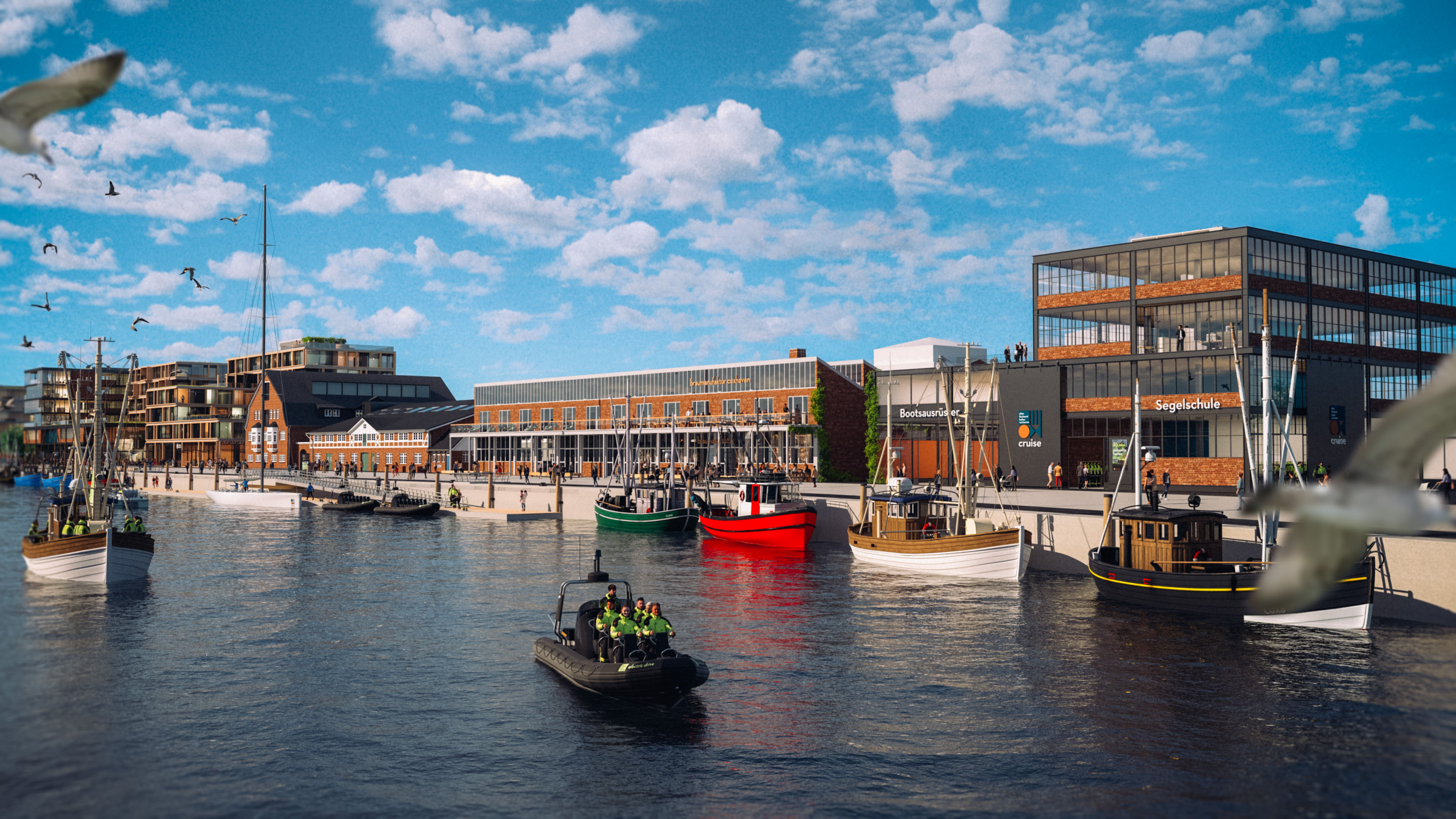 Destinationsentwicklung Quartier Alter Fischereihafen Cuxhaven Segelschule Braumanufaktur Promenade Boote Going Places