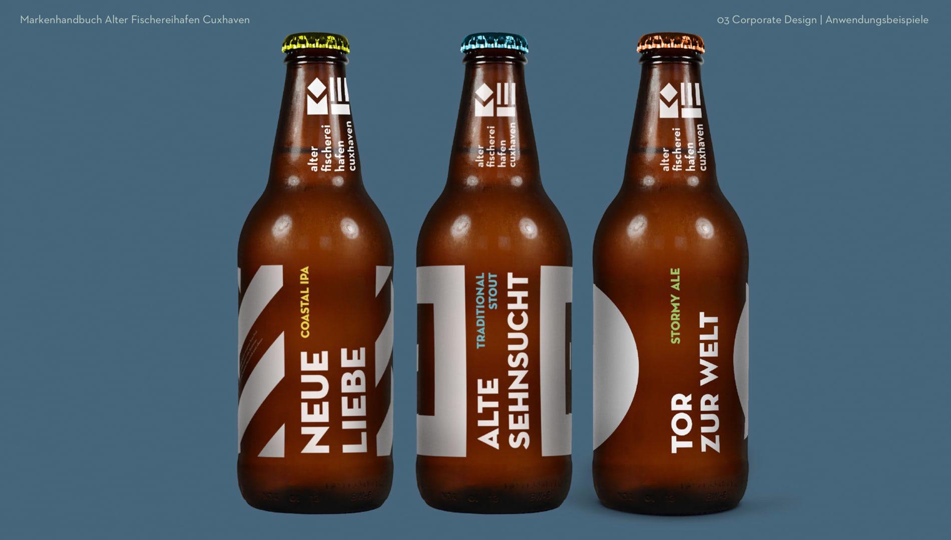 Markenentwicklung Corporate Design Alter Fischereihafen Cuxhaven Markenkonzept Markenhandbuch Bierflaschen Going Places