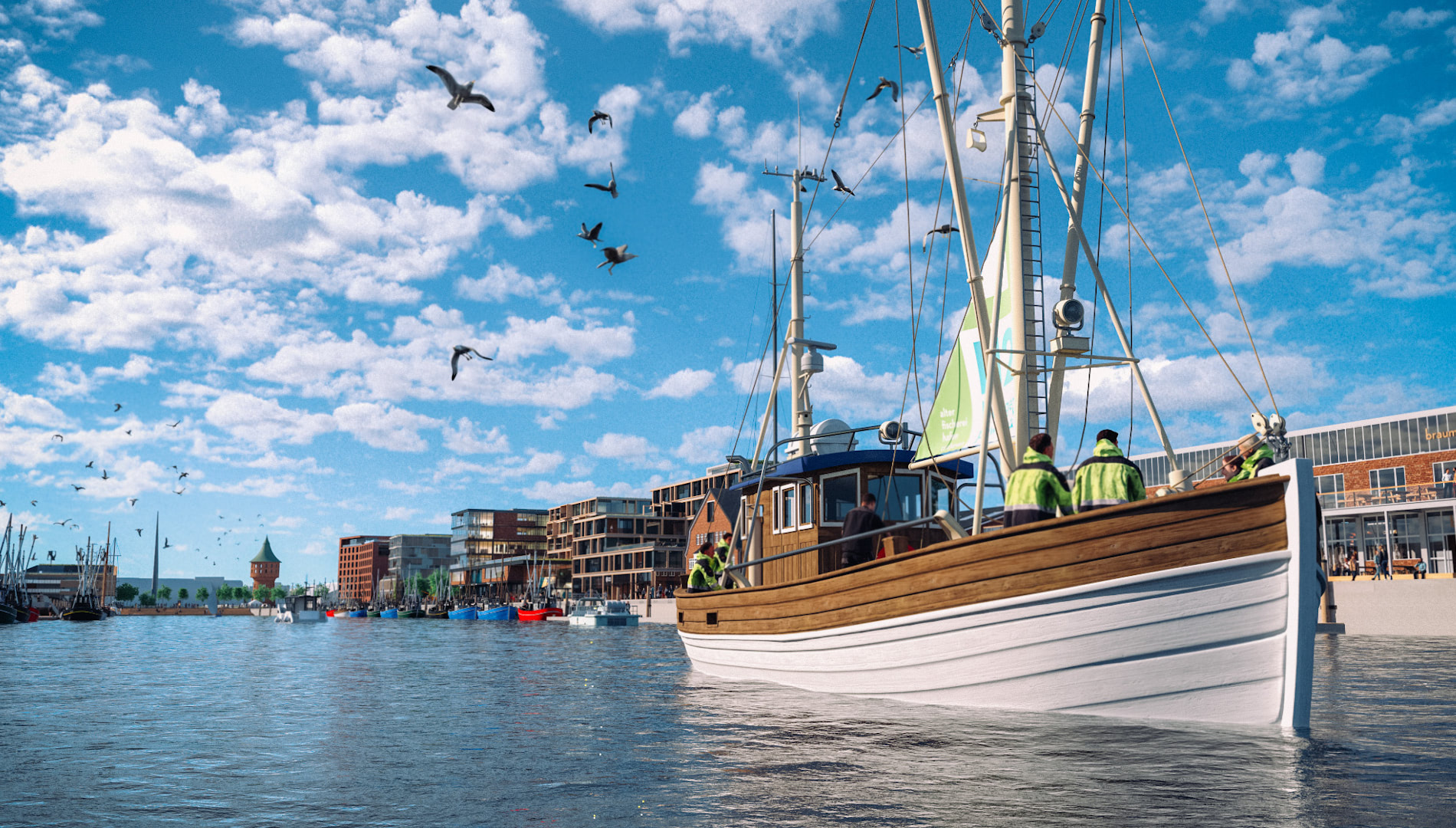 Markenentwicklung Corporate Design Alter Fischereihafen Cuxhaven Ausblick Kai Boot Going Places