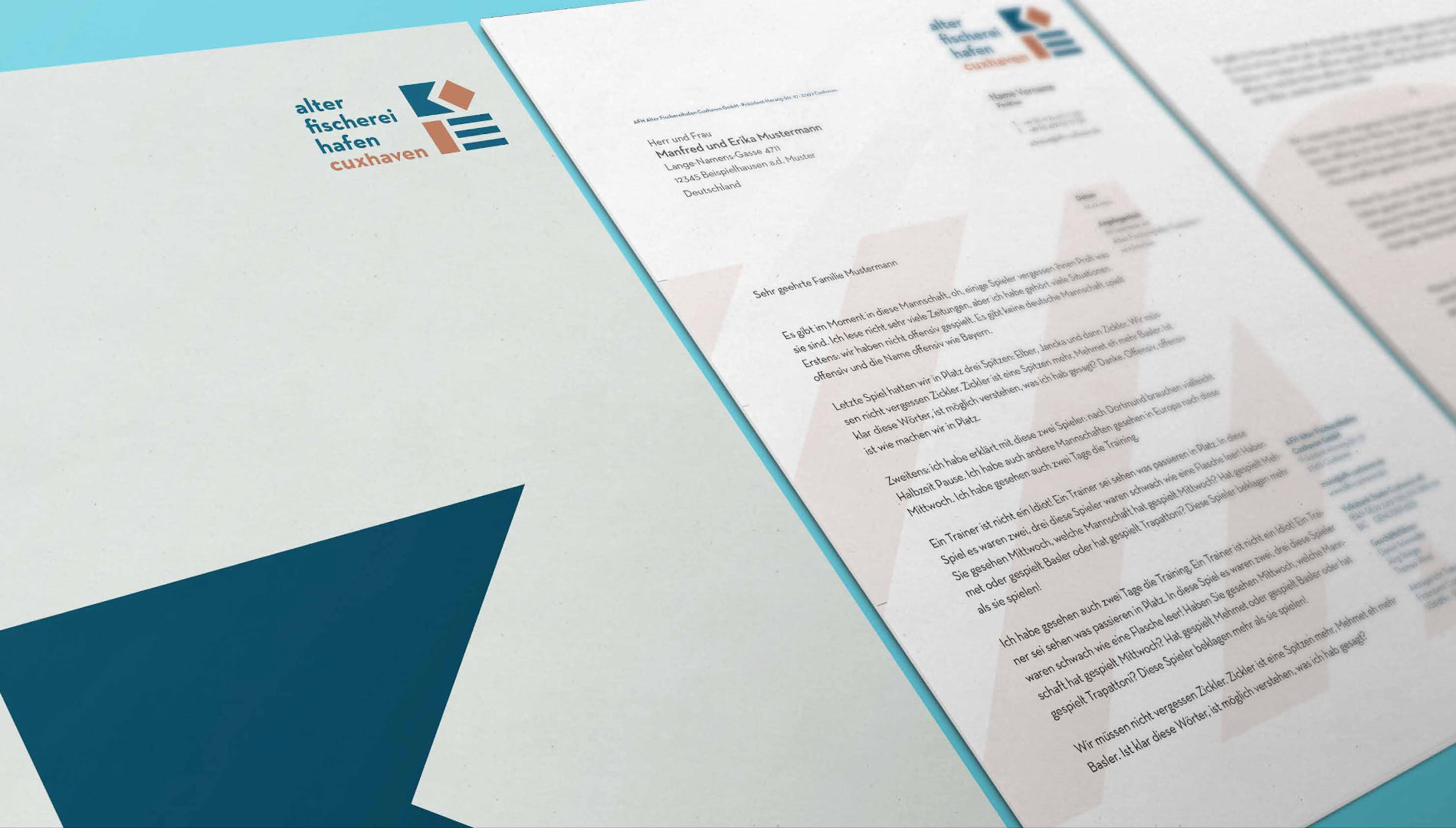 Markenentwicklung Corporate Design Alter Fischereihafen Cuxhaven Briefbogen Markenlogo Going Places