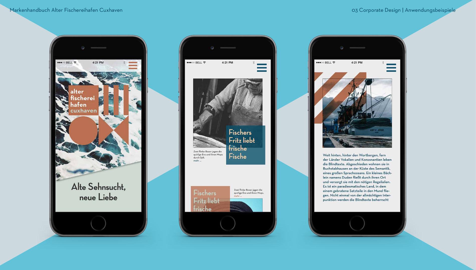 Markenentwicklung Corporate Design Alter Fischereihafen Cuxhaven Markenhandbuch iPhones Handys Going Places