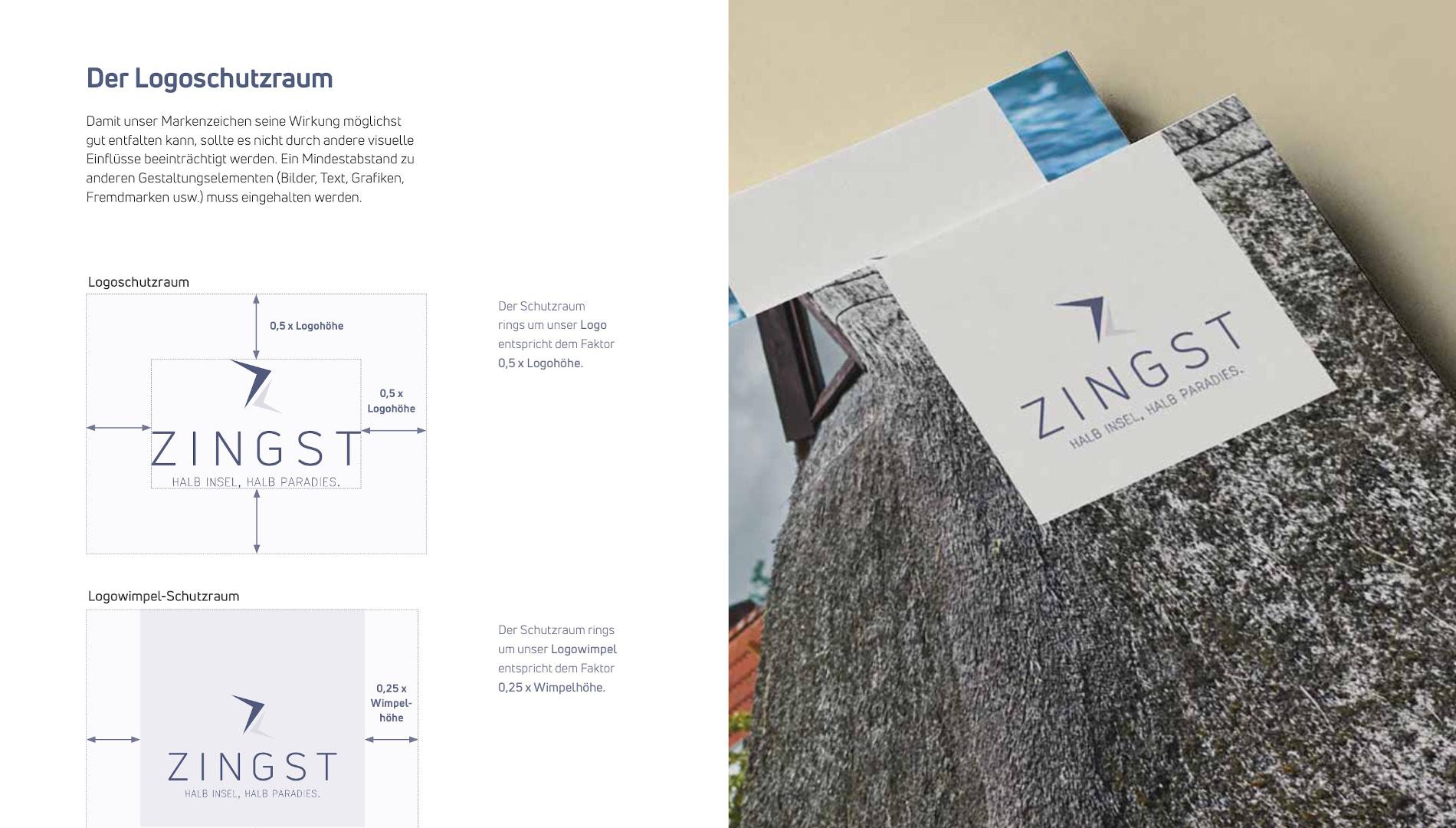 Markenentwicklung Corporate Design Zingst Markenzeichen Logoschutzraum Going Places